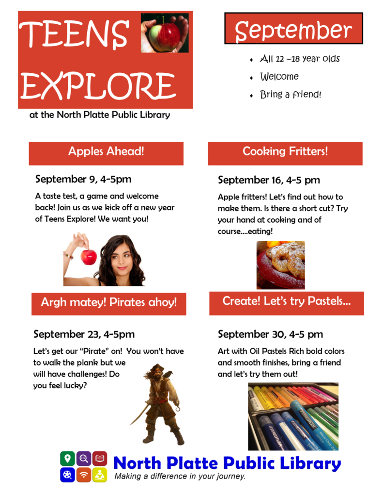 Teens Explore meets Thursdays from 4:00 - 5:00 pm